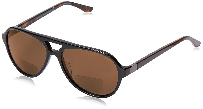 Spine Optics SP7002 Polarized Bi-Focal Reading Sunglasses in Black (001) w/ Brown Lens +1.25