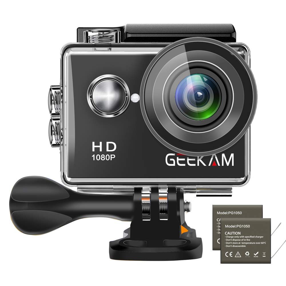 GeeKam Kids Action Camera 1080P Waterproof Sports Camera Kids Toy for Boy Girls Holiday Birthday Gift with 2.0 inch LCD Screen and Mounting Accessories Kit(Black)