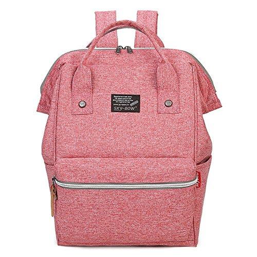 (JVP1077-L) Rucks de las mujeres Bolso de hombro del bolso de nylon Anillo impermeable Anillo de la escuela secundaria Estudiante de gran capacidad Volver a la moda Popular Escuela linda Luz suburbana Rosa
