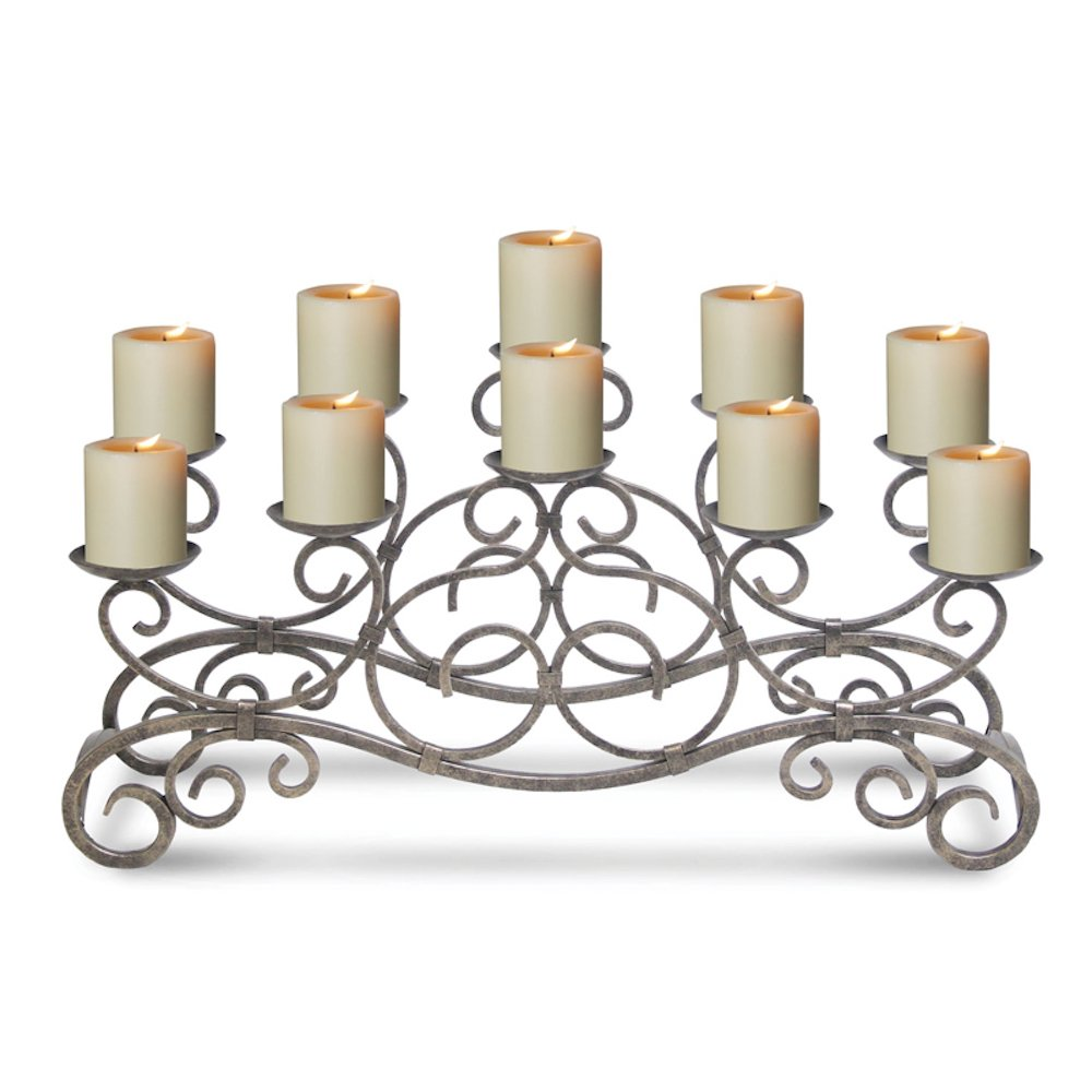 Pilgrim Home and Hearth 17501 Brighton Fireplace Candelabra Candle Holder, Distressed Bronze
