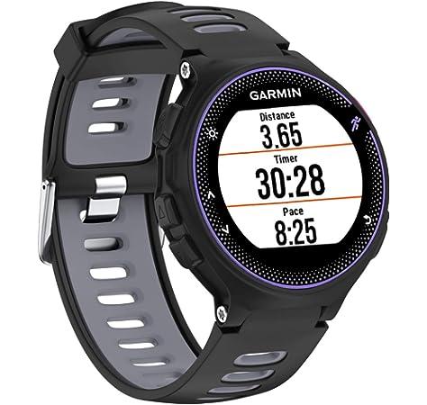 Keweni Garmin Forerunner correas, correas de repuesto ajustables de silicona para reloj Garmin Forerunner 735XT/230/235/620/630 Tracker, Black&Grey: Amazon.es: Deportes y aire libre