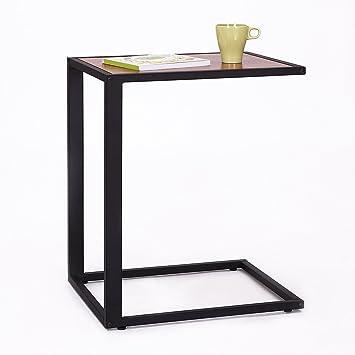 Genial HOMCOM Sofa Snack Wooden Modern Coffee Side Table Laptop Holder C Shape  Overbed Desk Metal Base