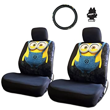 New Design 6 Pieces Despicable Me Minion Car Seat Covers And Steering Wheel Cover Set