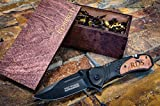 Engraved Camping Knife + Wood Box Groomsmen Gift Custom Pocket Knives & Wooden Boxes- Tactical Groomsman Set Husband Hunting Man Mens Boyfriend Wedding Gifts Folding Blade Rustic Spring Assist Open