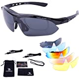 CAMEL CROWN Sports Sunglasses Polarized UV400 Protection with 5 Lenses for Cycling Fishing Driving