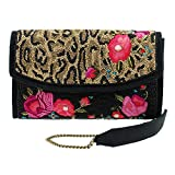 Mary Frances FLOWERS GONE WILD Leopard Animal Flower Bag Handbag Beaded New