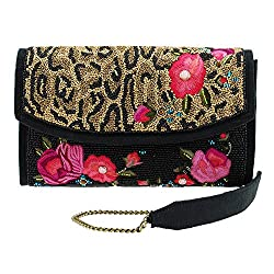 Leopard Print And Flower Beaded Handbag
