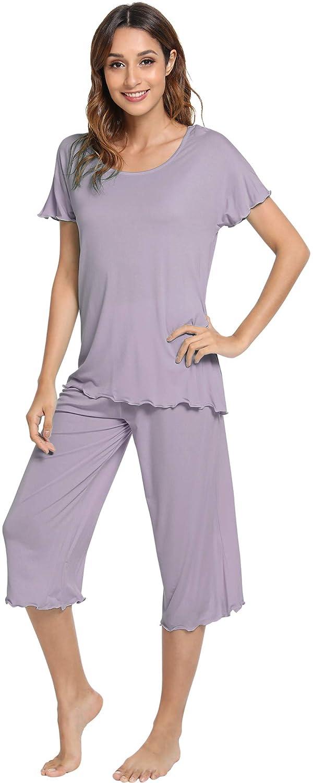 WiWi Womens Comfy Pajama Set Short Sleeve Sleepwear S-4X