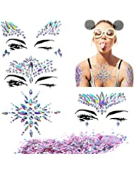 BBTO 4 Sheets Mermaid Face Breast Gems Glitter Sticker Festival Jewels Temporary Tattoo and 8 g Glitter Chunky Sequins for Face Body Decoration