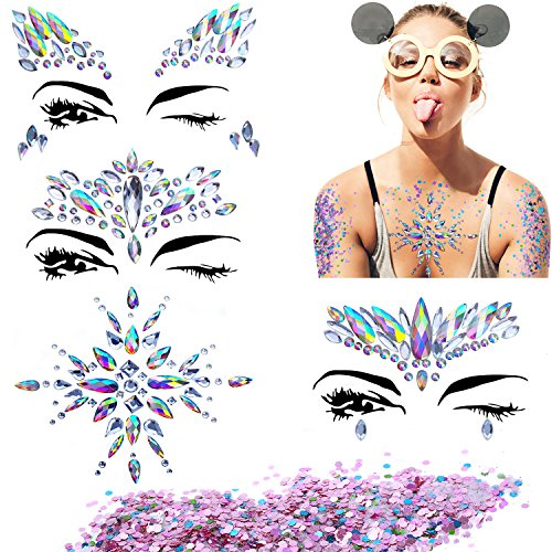 Bbto 4 Sheets Mermaid Face Breast Gems Glitter Sticker