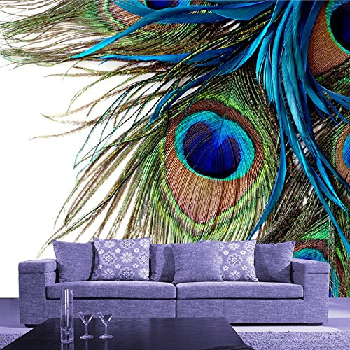 Cheap  Colomac Wall Mural 3D Peacock Feather Colorful Peacock Tail Mural Suitable for..