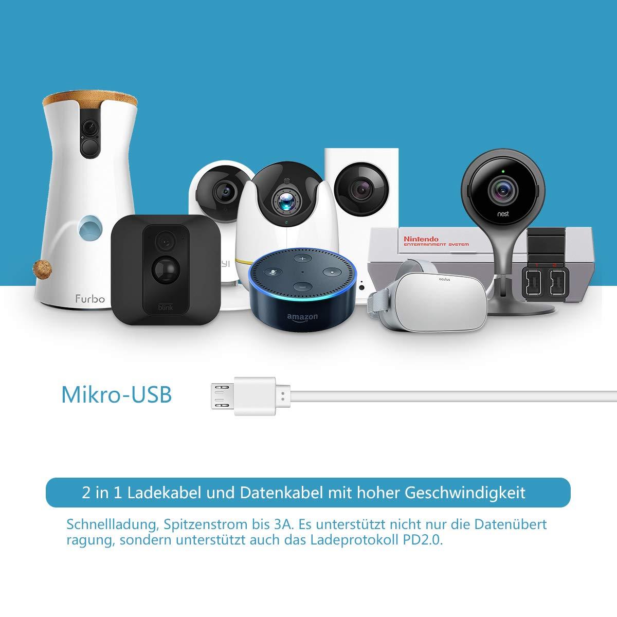 Cable Micro USB,Cable de Extensión de Alimentación LANMU para Wyze Cam Pan, Cámara Yi,Echo Dot,Nest Cam,Netvue,Super NES Classic, Furbo Dog,Oculus Go,Blink ...