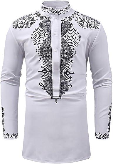 Camisa de Manga Larga para Hombre, Estilo Hipster, Informal, Ajustada, con Botones - Blanco - Medium: Amazon.es: Ropa y accesorios