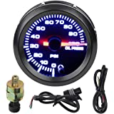 ECCPP Oil Press Gauge LED Electronic Universal Oil Pressure Gauge Meter 2inch 52mm Digital 0-100 PSI for Car Vehicle Automotive Oil Press Sensor
