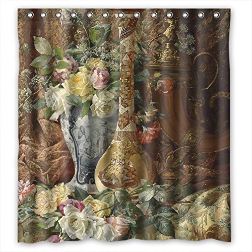 MaSoyy Width X Height / 66 X 72 Inches / W H 168 By 180 Cm Polyester Famous Classic Art Painting Flowers Blossoms Bath Curtains Fabric Is Fit For Bf Girls Mother Girls Boys. Anti Bacteri - Pelican Table Lamp