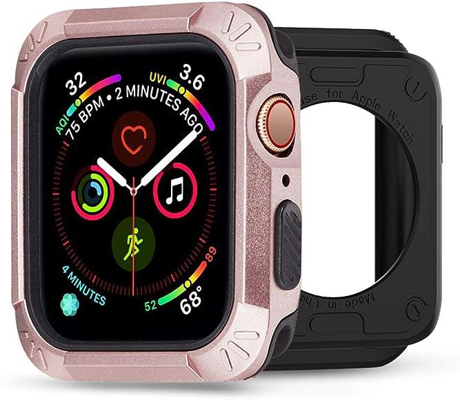 Funda para Apple Watch Serie 4 40mm 44mm 2 en 1 Parachoques Cubierta del Caso Anti-Choque Ligero Protector de Pantalla Protectora Carcasa para iWatch ...