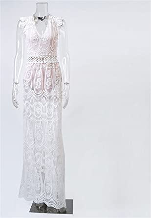 c588dc187d9ff Cheryl Bull Elegant Hollow Out White Lace Dress Women Spring High ...