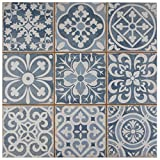 "ceramic tile floor SomerTile FPEFAEA Romania Ceramic Floor and Wall Tile, 13"" x 13"", Blue"