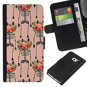KLONGSHOP // Tirón de la caja Cartera de cuero con ranuras para tarjetas - Flores Arte Pintura colorida - Samsung Galaxy S6 EDGE //