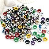 Ecloud Shop® 200 Pcs Multicolor round Metal Eyelet Grommet for Canvas Clothes 9mm