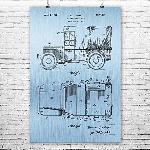 Willys Jeep Poster Art Print, Willys MB, Ford GPW, WW2, Mili