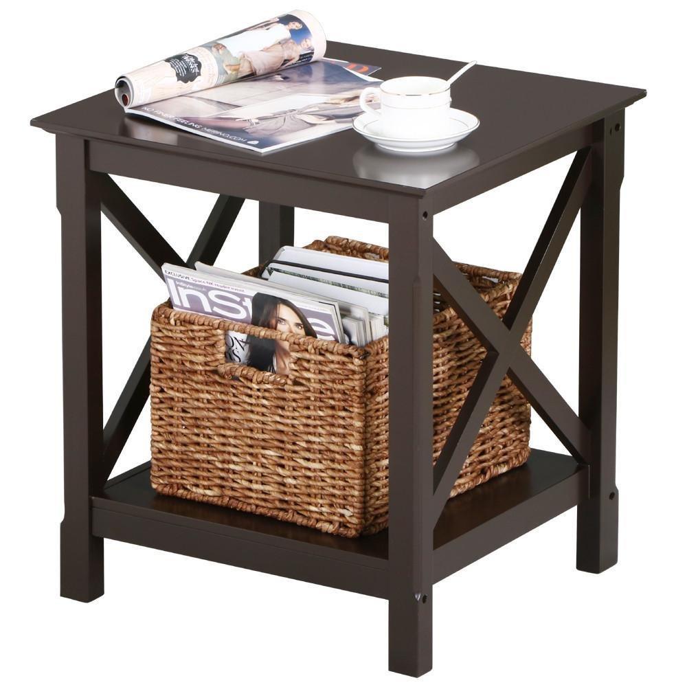 Yaheetech X-Design 2-Tier Wood Side Storage Display Coffee End Table Espresso