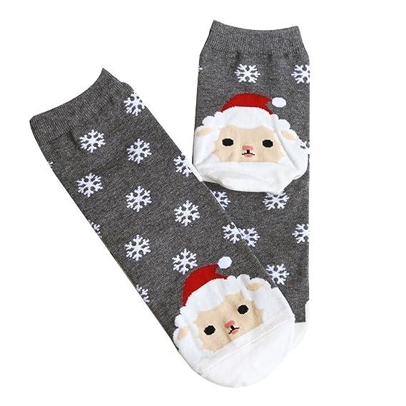 DEELIN Las Mujeres De Navidad Casual Calcetines Lindos Calcetines Unisex CumpleañOs De Dibujos Animados Zorro Copo De Nieve Calcetines De Barril Medio: ...