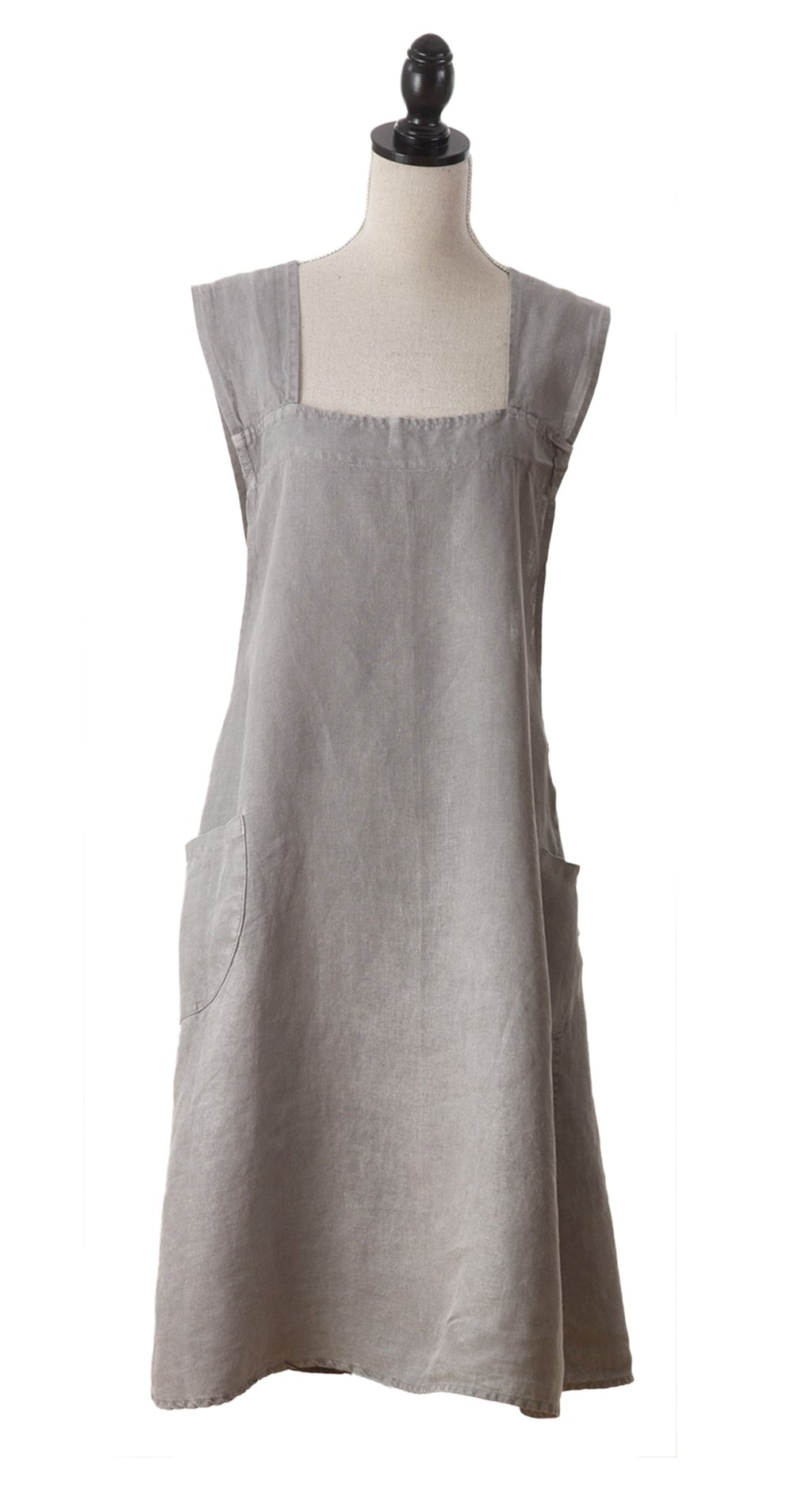 Fennco Styles Solid Criss Cross Back Apron Linen Kitchen Apron - 5 Colors (Pewter) by fenncostyles.com