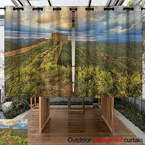 (Indoor/Outdoor Curtains,Great Wall of China,Exquisite Skyline on Classical Old Castle Wonder of The World Themed,Great for Living Rooms & Bedrooms,K183C183 Green Blue)
