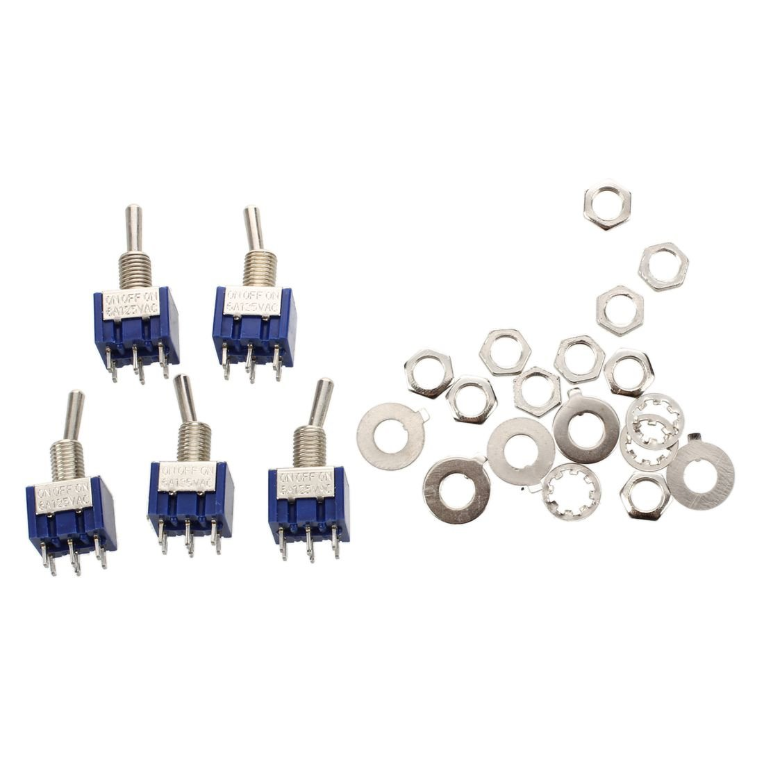 SODIAL(R) 5pzs Mini Interruptor de palanca miniatura ENCENDIDO -APAGADO - ENCENDIDO 2P2T DPDT de 3 posiciones
