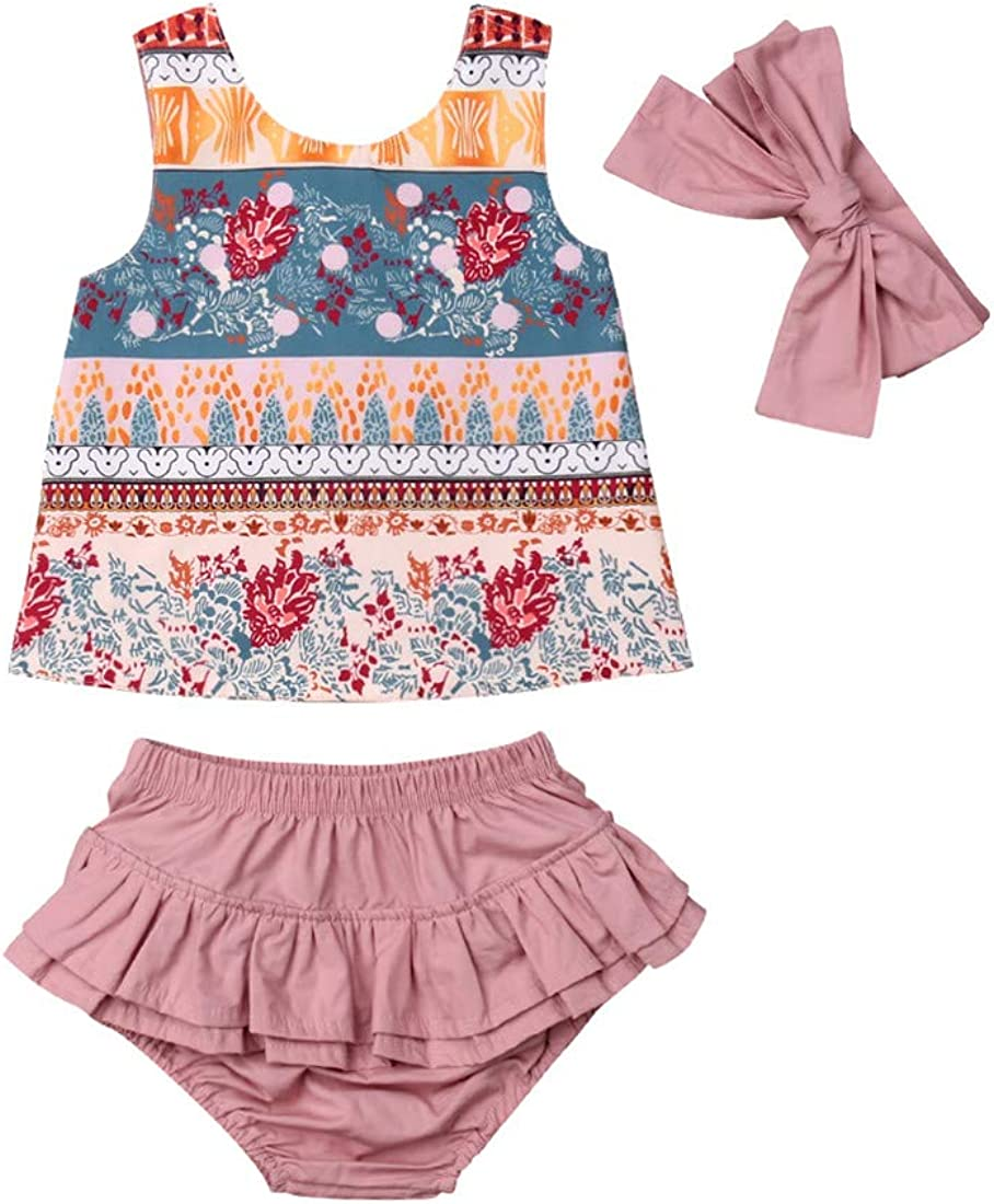 Ruffled Shorts Bloomers Headband 3PCS Infant Toddler Outfit Set Baby Girl Clothes Ethnic Floral Printed Vest T-Shirt Tops