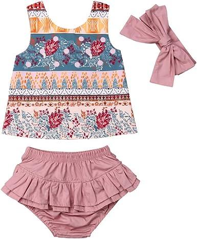 2pcs Baby Clothes Set Toddler Infant Girls Ethnic Floral Print Tops Vest+Pants Two-piece Romper