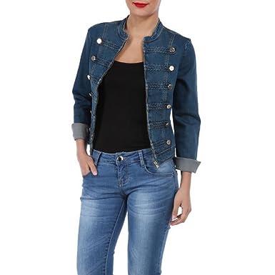 5ec3accbd54e La Modeuse - Veste femme en jeans style officier  Amazon.fr  Vêtements et  accessoires