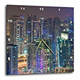 3dRose Danita Delimont - Cities - UAE, Nighttime view of Dubai Marina - 10x10 Wall Clock (dpp_277090_1)