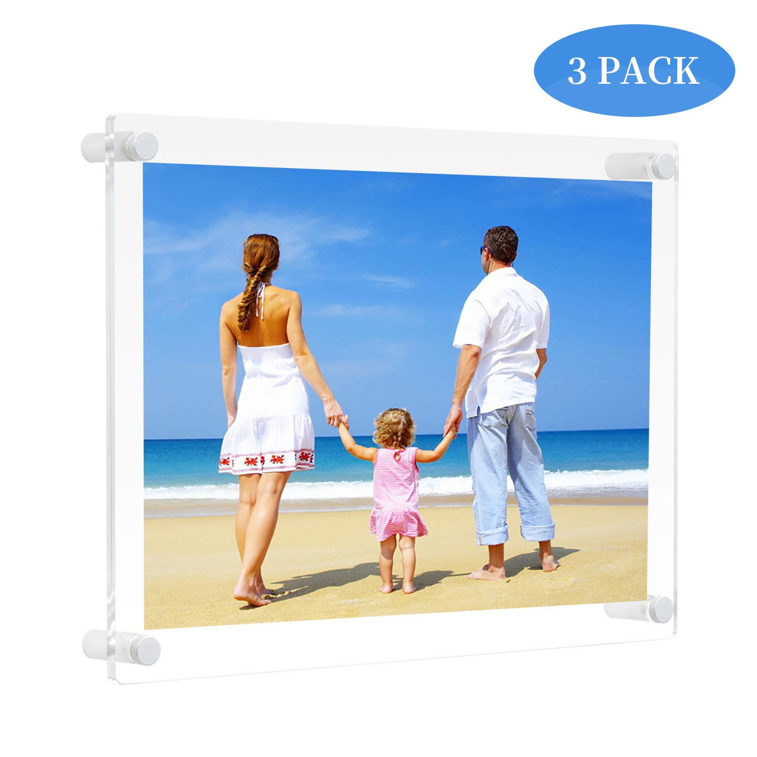 NIUBEE 3Pack 8.5x11 Clear Acrylic Wall Mount Picture Frame Floating Frames for Photography Display