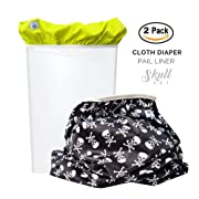 Baby Tooshy Diaper Pail Liner Set (2) - Large Capacity Wet Bag for Cloth & Disposable Diapers. Effectively Contains Stinky Diapers. Heavy Duty PUL offers Superior Leak Free Protection. Skulls
