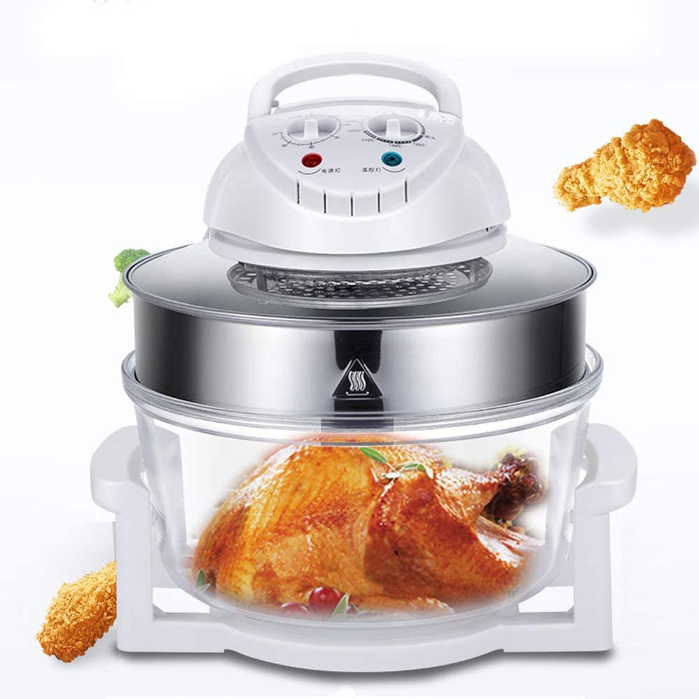 Electric Air Fryer Oven Convection Roaster Air Fryer Oven Turbo Electric Cooker Oilless Cooker Recipe 360° Heating Large Capacity Borosilicate Glass Visualization Transparent
