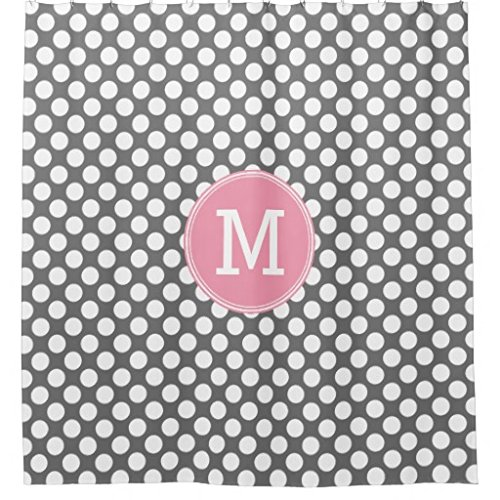 Pink and Gray Polka Dots with Preppy Monogram Shower (Preppy Dots)