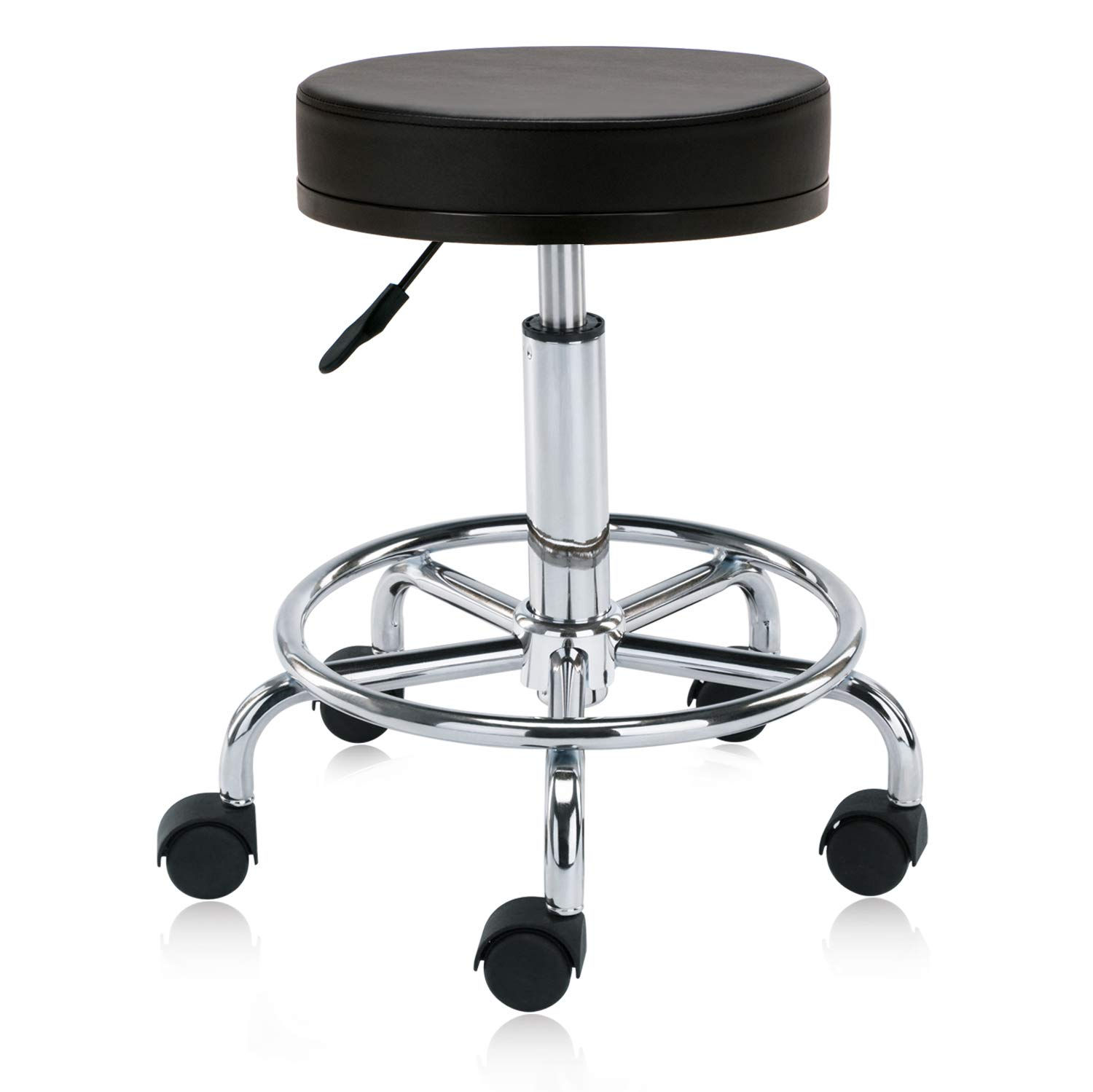 DR.LOMILOMI Swivel Rolling Hydraulic Height Adjustable Stool Chair 504 with Foot Rest for Clinic Spas Beauty Salons Dentists Home Office (with Wheels, Black) by DR.LOMILOMI