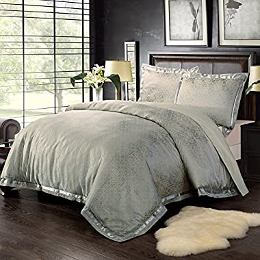 Simple&Opulence Bamboo-derived Rayon Frabic Golden Lattice Jacquard King Quilt Queen Full Twin Duvet Cover Set (Queen)