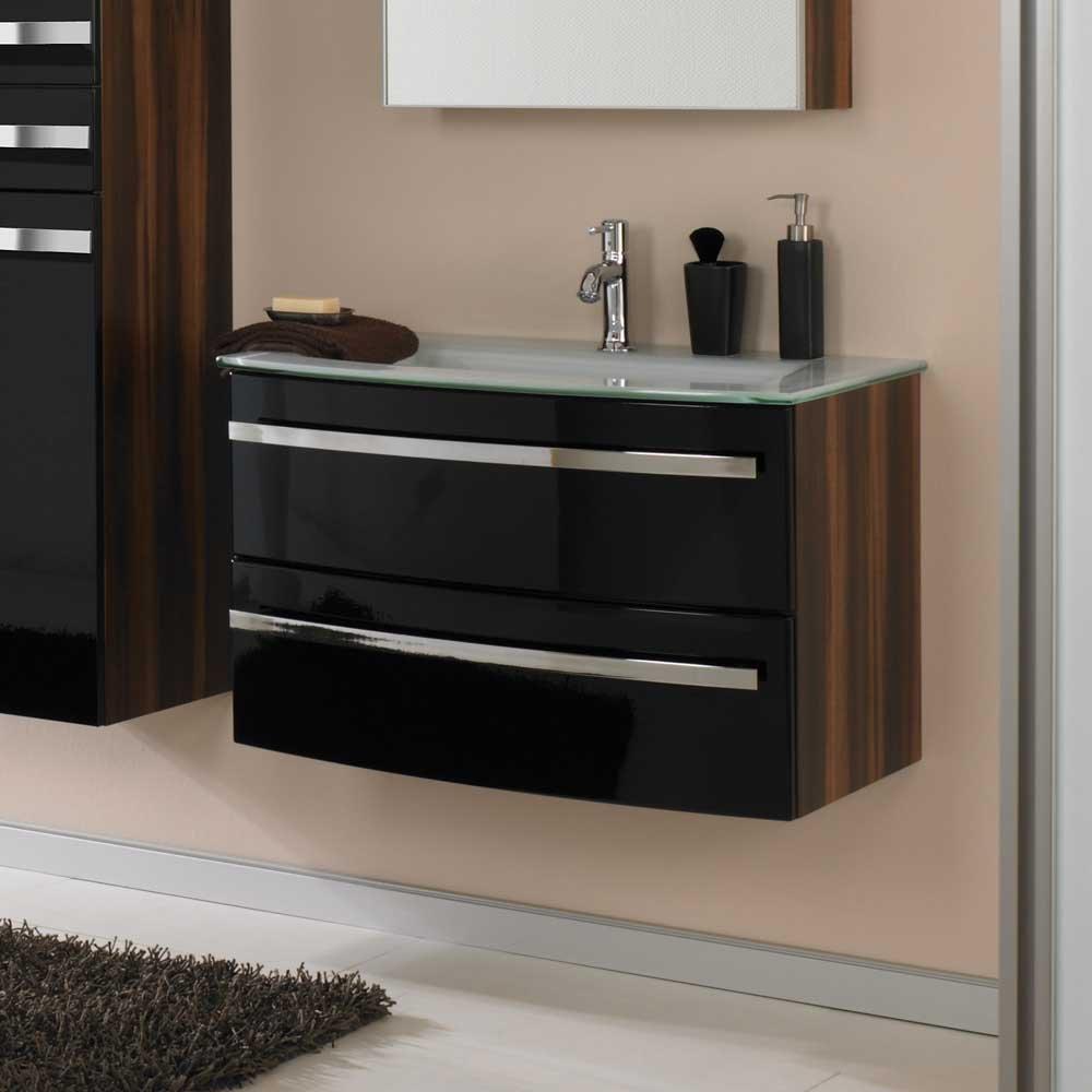 Waschtischunterschrank in Hochglanz Schwarz Zwetschge Waschbecken im Lieferumfang enthalten Mit Einlass-Waschbecken Ohne Pharao24