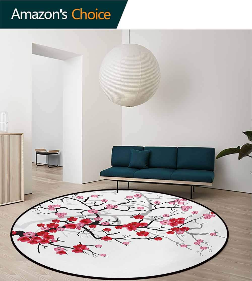 RUGSMAT Nature Modern Vintage Rugs,Japanese Plant Sakura Flower with Abstract Backdrop Art Area Rug - Perfect for Any Place,Diameter-71 Inch Dark Brown Dark Coral and Pale Pink by RUGSMAT (Image #1)