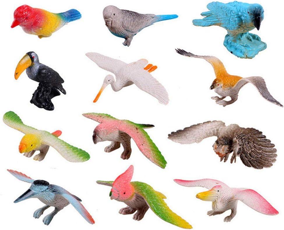 FLORMOON Figuras de Aves 12 Piezas Set de Juguetes de Animales de Aspecto Realista Modelos de Animales de plástico Juguetes Aves Artificiales Figuras Niños Juguetes educativos para niños Niñas Niños