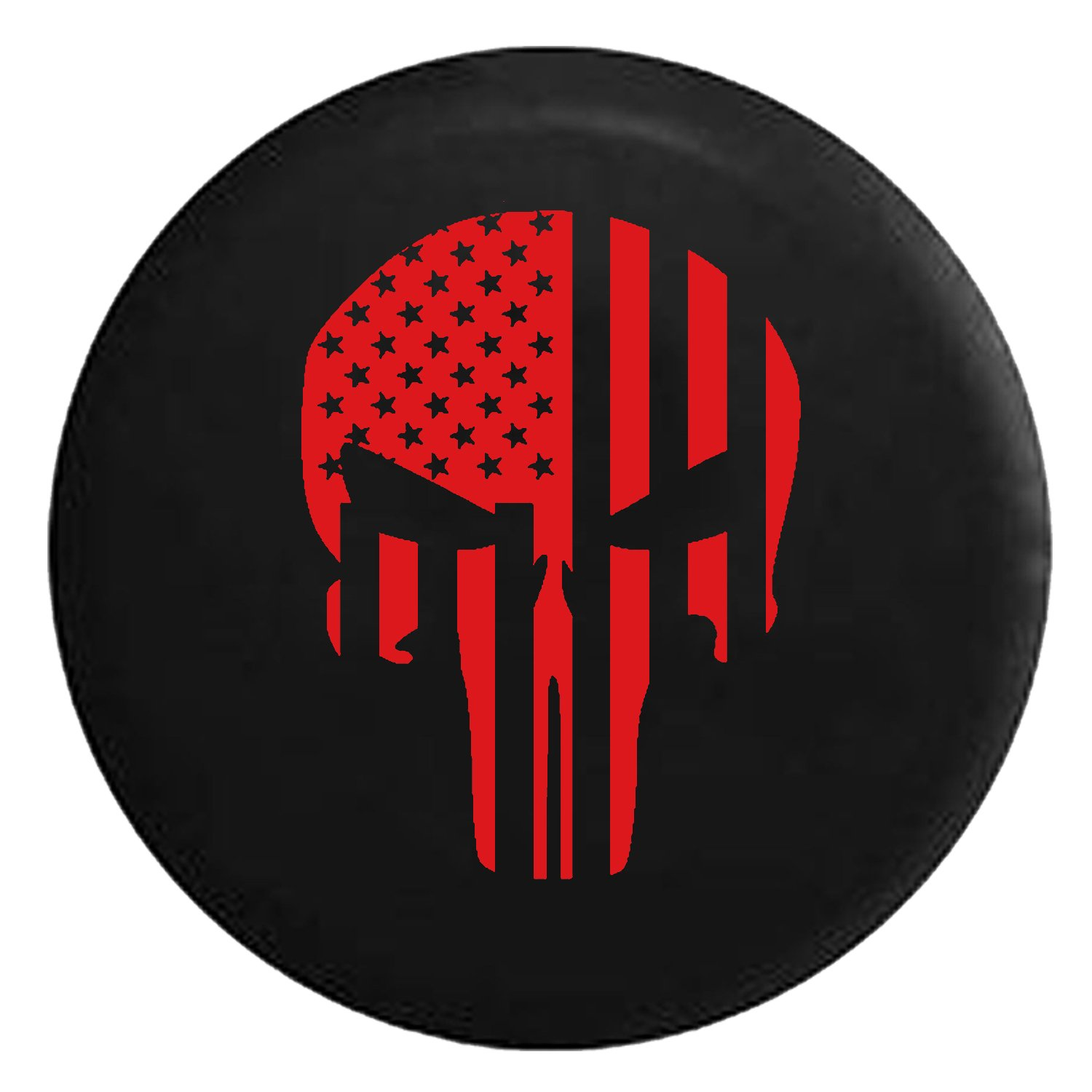 American Flag Tactical Stars & Stripes Punisher Skull Spare Jeep Wrangler Camper SUV Tire Cover Red Ink 29 in