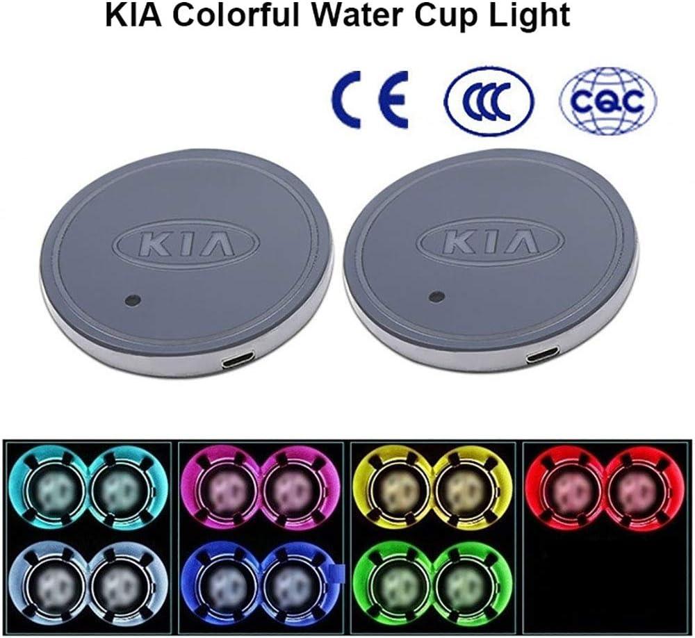 Alfombrilla de Carga USB para Coche 7 Colores de luz integrada Rivadal 2 Posavasos con Logotipo de Coche con luz LED Impermeable para Botella de Bebidas
