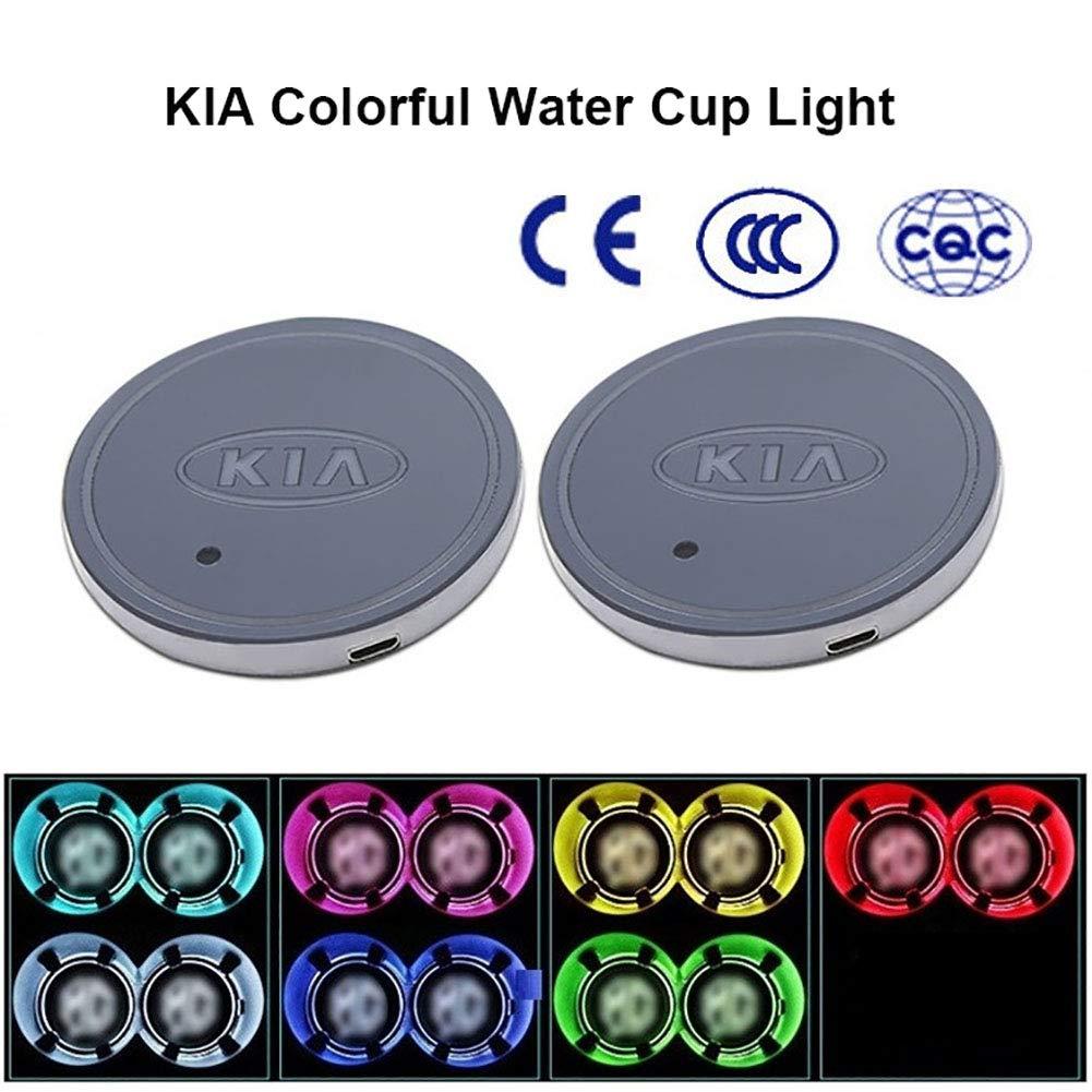 2 Pezzi 7 Colori Parkomm LED Auto Logo Cup Holder Pad LED Cup Halter Matte Auto Decorazione Interna Lampada per Auto Ricarica USB
