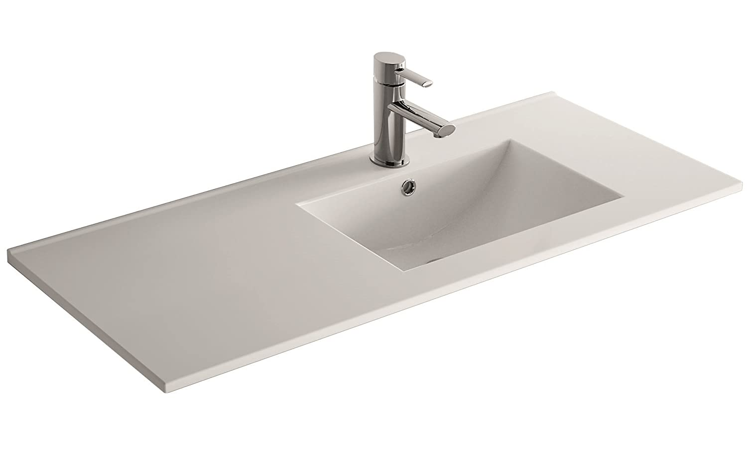 Cygnus Bath - 120 cm ceramic washbasin, with a basin off-set to the left, extra-flat 1100120746