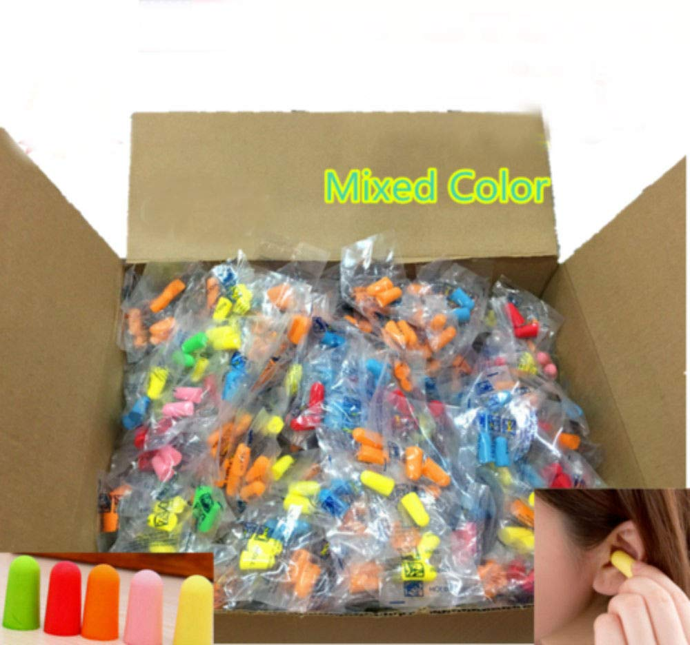 300 Packs (600 Earplugs) Ear Plugs Lot Bulk, Soft Mixed Colorful Foam Sleep Travel Noise Shooting, earplugs