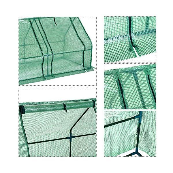 Outsunny Serra da giardino a tunnel in PE telaio in acciaio 270x90x90cm verde trasparente 4 spesavip