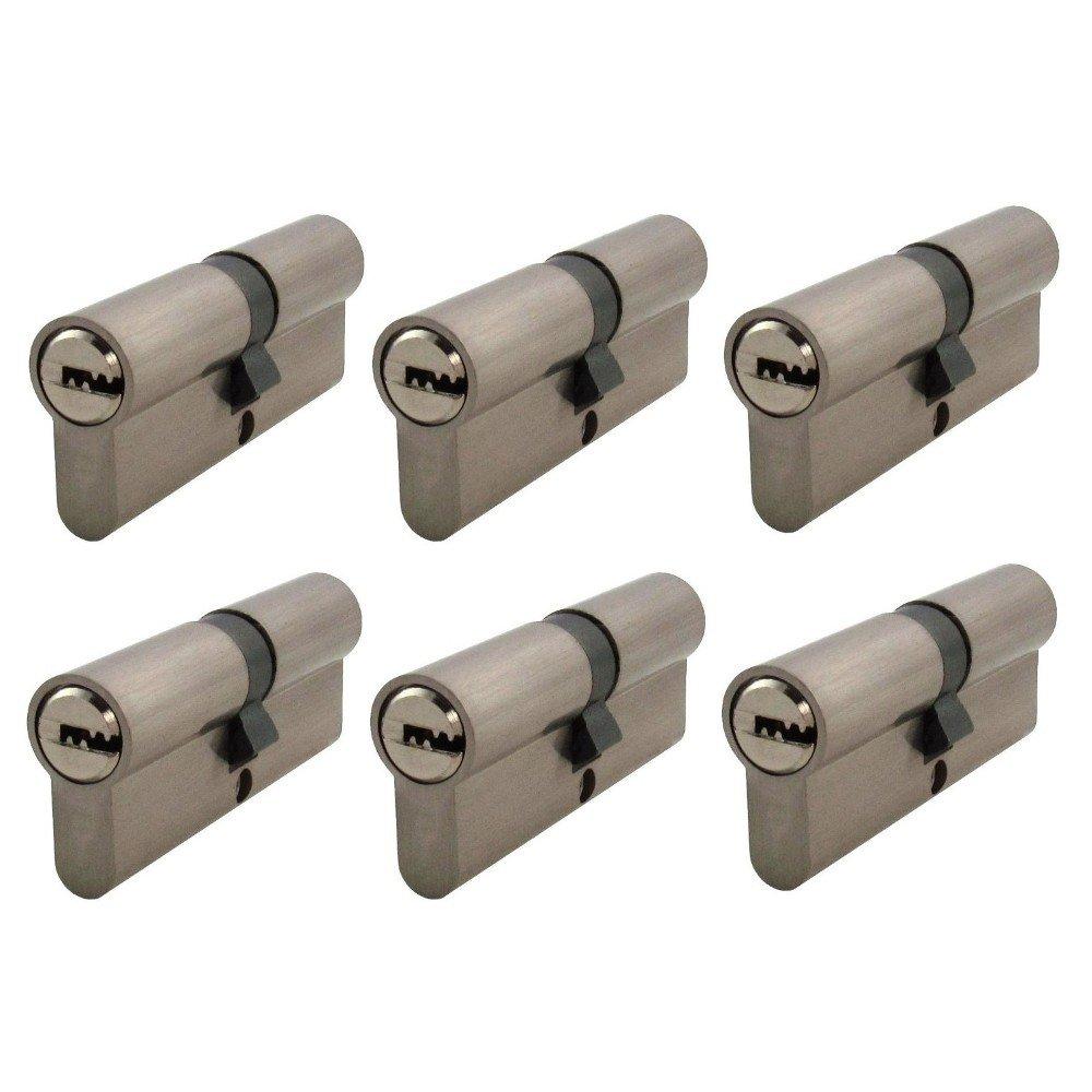 6x Zylinderschloss gleichschließ end 60 mm mit jeweils 5 Wendeschlü ssel fü r ein Schloss 30x30 mm Löwen Sicherheitsschloss